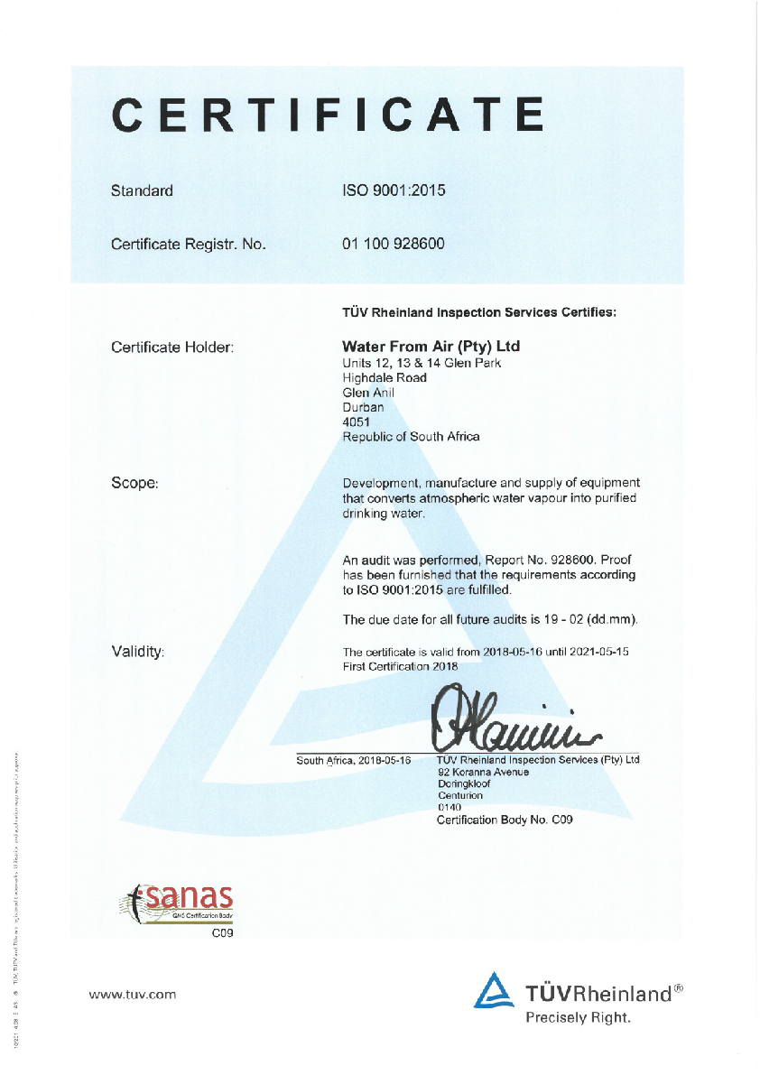 Water From Air WfA ISO 9001 Certificate
